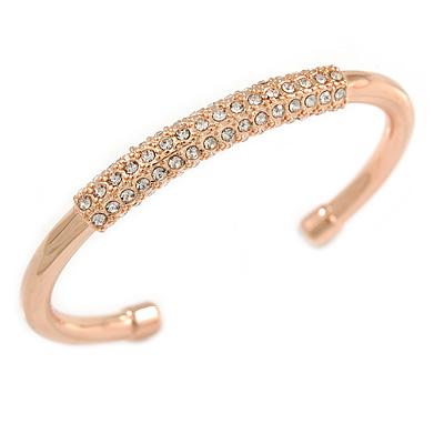 Rose Gold Tone Polished Crystal Bar Cuff Bracelet - 19cm L