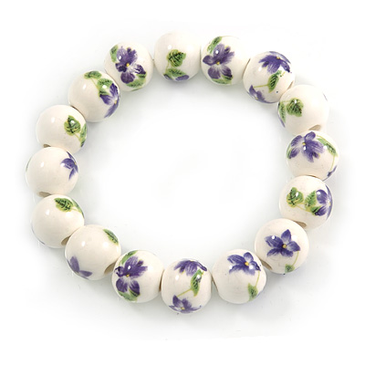 13mm Summery Purple/ Green Floral Pattern White Ceramic Bead Flex Bracelet - 17cm L