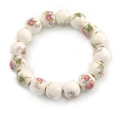 13mm Summery Pink/ Green Floral Pattern White Ceramic Bead Flex Bracelet - 17cm L