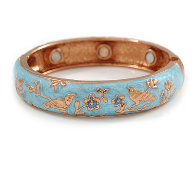 Light Blue Enamel Bird and Flower Copper Magnetic Hinged Bangle Bracelet with Six Magnets - 19cm L