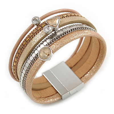 Stylish Gold Caramel Faux Leather with Crystal Detailing Magnetic Bracelet In Silver Finish - 18cm L