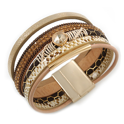Stylish Gold, Brown, Snake Print Faux Leather with Crystal Detailing Magnetic Bracelet In Matt Gold Finish - 18cm L