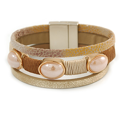 Stylish Gold Caramel Faux Leather with Glass Bead Detailing Magnetic Bracelet In Matt Gold Finish - 18cm L