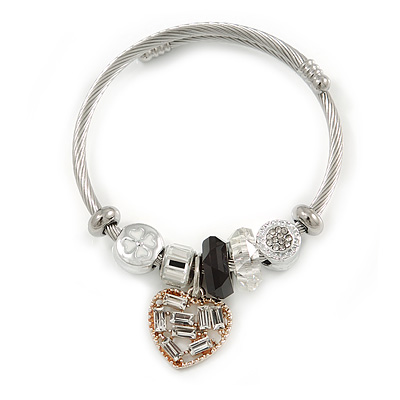 Fancy Charm (Heart, Crystal Bead) Flex Twisted Cable Cuff Bracelet In Silver Tone Metal - Adjustable - 17cm L - main view