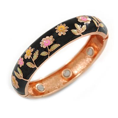 Black Enamel Floral Copper Magnetic Hinged Bangle Bracelet with Six Magnets - 19cm L