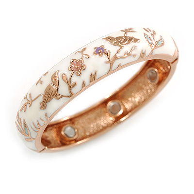 White Enamel Bird and Flower Copper Magnetic Hinged Bangle Bracelet with Six Magnets - 19cm L