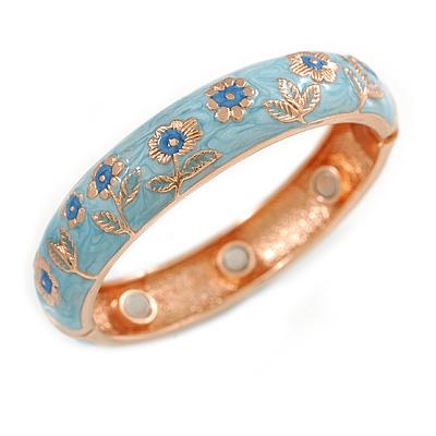 Light Blue Enamel Floral Copper Magnetic Hinged Bangle Bracelet with Six Magnets - 19cm L