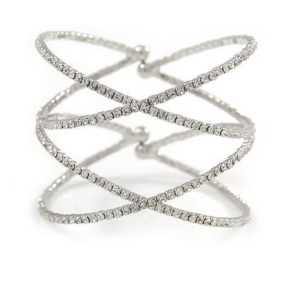 Statement Silver Tone Clear Crystal Double Cross Motif Flex Cuff Bracelet - Adjustable
