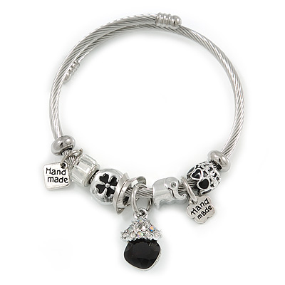 Fancy Charm (Elephant, Crystal Beads) Flex Twisted Cable Cuff Bracelet In Silver Tone Metal - Adjustable - 17cm L