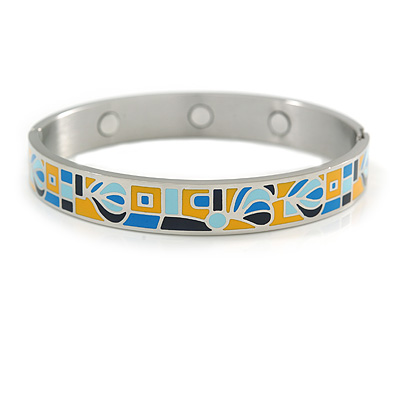 Yellow/ Blue Geometric Pattern Stainless Steel Magnetic Bangle Bracelet with Six Magnets - 18cm L - main view
