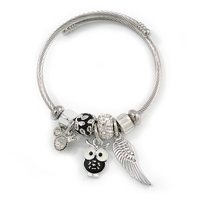 Fancy Charm (Owl/ Wing) Flex Twisted Cable Cuff Bracelet In Silver Tone Metal - Adjustable - 17cm L