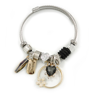 Fancy Charm (Heart, Flower, Crystal Rings) Flex Twisted Cable Cuff Bracelet In Silver/ Gold Tone Metal - Adjustable - 17cm L