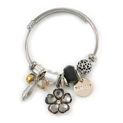 Fancy Charm (Heart, Flower, Glass Beads, Medallion) Flex Twisted Cable Cuff Bracelet In Silver Tone Metal - Adjustable - 17cm L - main view