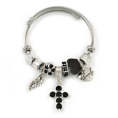 Fancy Charm (Heart, Leaf, Flower, Cross, Crystal Beads) Flex Twisted Cable Cuff Bracelet In Silver Tone Metal - Adjustable - 17cm L - main view