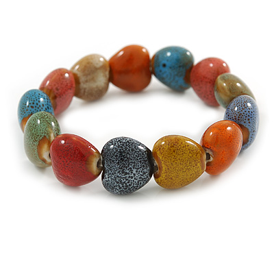 Multicoloured Ceramic Heart Bead Stretch Bracelet - 17cm L - main view