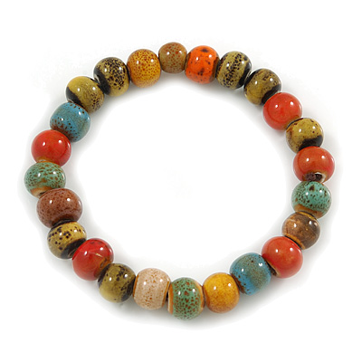 8mm Multicoloured Ceramic Round Bead Stretch Bracelet - 17cm L