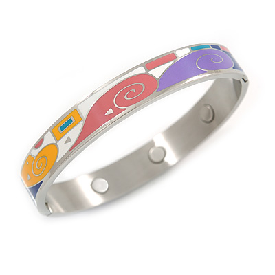 Multicoloured Geometric Pattern Stainless Steel Magnetic Bangle Bracelet with Six Magnets - 18cm L