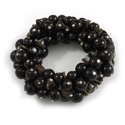 Solid Chunky Black Ceramic Bead, Sea Shell Nuggets Flex Bracelet - 18cm L