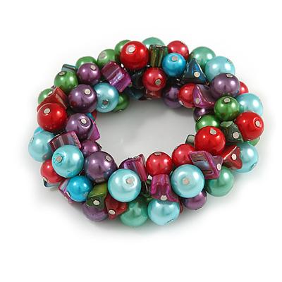 Solid Chunky Multicoloured Glass Bead, Sea Shell Nuggets Flex Bracelet - 18cm L - main view