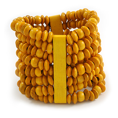 Wide Wooden Bead Flex Bracelet In Yellow - 19cm L - Adjustable - main view