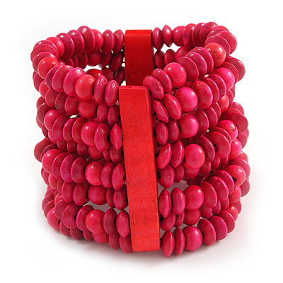 Wide Wooden Bead Flex Bracelet In Deep Pink - 19cm L - Adjustable - main view