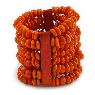 Wide Wooden Bead Flex Bracelet In Orange - 19cm L - Adjustable - main view