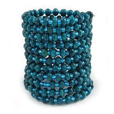 Wide Teal Wood and Light Blue Glass Bead Coil Flex Bracelet - Adjustable