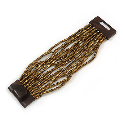 Bronze Gold Glass Bead Multistrand Flex Bracelet With Wooden Closure - 19cm L