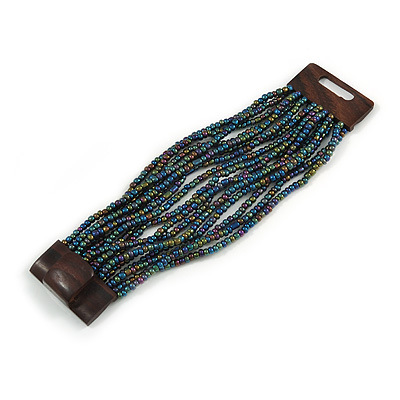 Peacock Glass Bead Multistrand Flex Bracelet With Wooden Closure - 19cm L