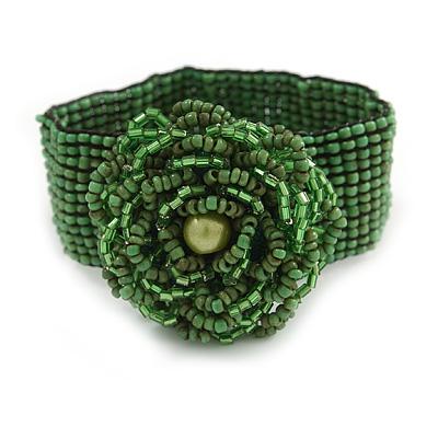 Statement Beaded Flower Stretch Bracelet In Apple Green - 18cm L - Adjustable - main view