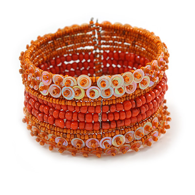 Bohemian Beaded Cuff Bangle with Sequin (Orange) - Adjustable