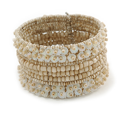 Bohemian Beaded Cuff Bangle with Sequin (Antique White) - Adjustable