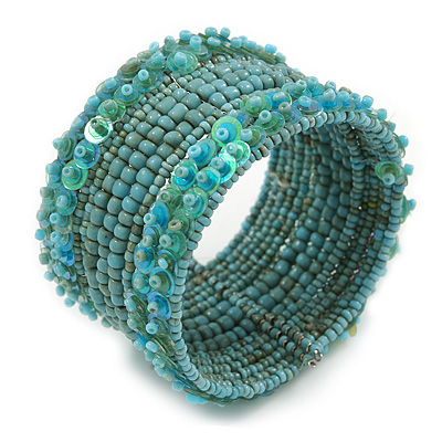 Bohemian Beaded Cuff Bangle with Sequin (Light Blue) - Adjustable