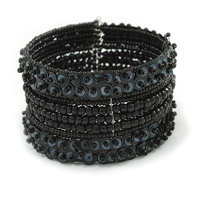 Bohemian Beaded Cuff Bangle with Sequin (Black) - Adjustable