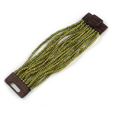 Olive Green Glass Bead Multistrand Flex Bracelet With Wooden Closure - 19cm L - main view
