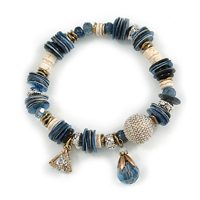 Trendy Glass and Shell Bead, Gold Tone Metal Rings Flex Bracelet (Blue, Grey, White, Gold) - 17cm L
