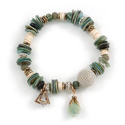 Trendy Glass and Shell Bead, Gold Tone Metal Rings Flex Bracelet (Green, White, Gold) - 17cm L