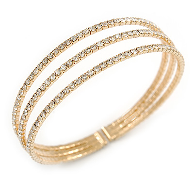 Delicate 3 Strand Clear Crystal Flex Cuff Bracelet in Gold Tone Metal - Adjustable