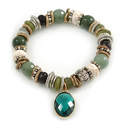 Trendy Ceramic and Semiprecious Bead, Gold/ Silver Tone Metal Rings Flex Bracelet (Olive, Green, Black, Natural) - 18cm L - main view