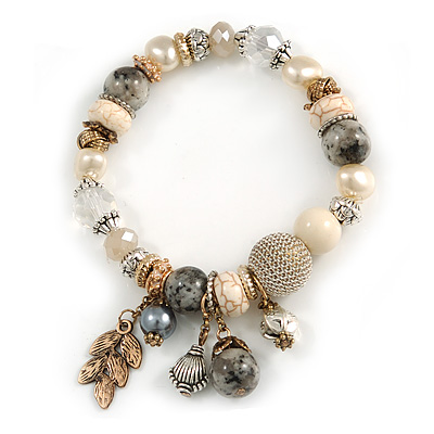 Trendy Ceramic, Glass and Semiprecious Bead, Gold/ Silver Tone Metal Rings, Charm Flex Bracelet (Grey, Cream) - 18cm L - main view