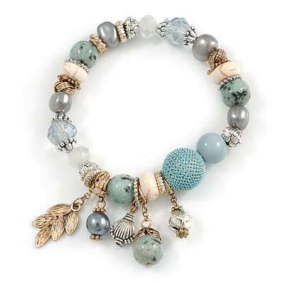 Trendy Ceramic, Glass and Semiprecious Bead, Gold/ Silver Tone Metal Rings, Charm Flex Bracelet (Light Blue, Grey, Cream) - 18cm L
