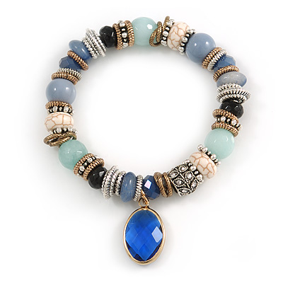 Trendy Ceramic and Semiprecious Bead, Gold/ Silver Tone Metal Rings Flex Bracelet (Blue, Mint, Natural) - 18cm L