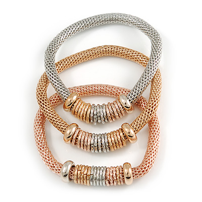 Set Of 3 Thick Mesh Flex Bracelets with Polished/ Textured Rings in Gold/ Silver/ Rose Gold - 19cm L - main view
