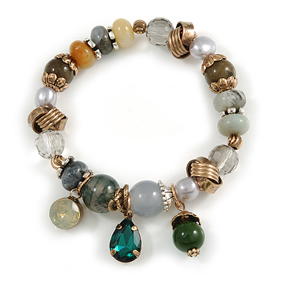Trendy Glass and Semiprecious Bead, Gold Tone Metal Rings Flex Bracelet (Green, Grey, Olive)) - 18cm L