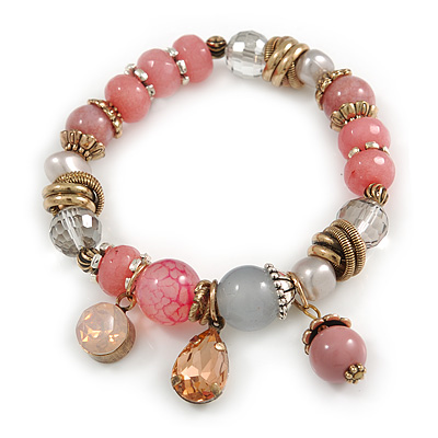 Trendy Glass and Semiprecious Bead, Gold Tone Metal Rings Flex Bracelet (Pink, Grey) - 18cm L