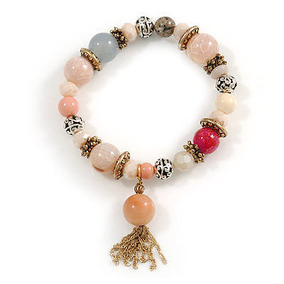 Trendy Ceramic, Glass and Semiprecious Bead, Gold/ Silver Tone Metal Rings, Charm Flex Bracelet (Pink, Grey) - 18cm L