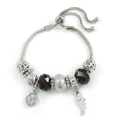 Trendy Glass, Crystal, Metal Bead Charm Chain Bracelet In Silver Tone (White/ Red) - 15cm L/ 3cm Ext
