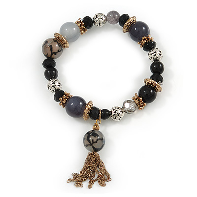 Trendy Ceramic, Glass and Semiprecious Bead, Gold/ Silver Tone Metal Rings, Charm Flex Bracelet (Black, Grey) - 18cm L - main view