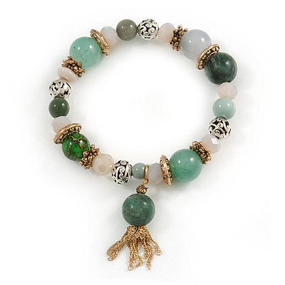 Trendy Ceramic, Glass and Semiprecious Bead, Gold/ Silver Tone Metal Rings, Charm Flex Bracelet (Green, Beige, Milky White) - 18cm L