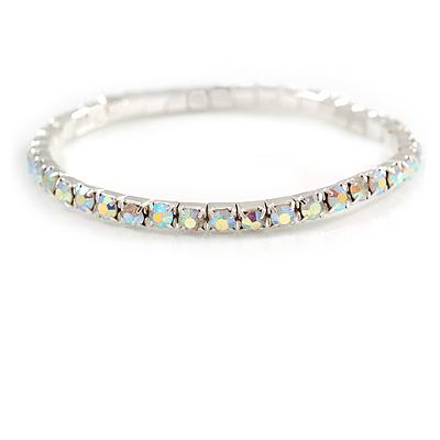 Slim AB Crystal Flex Bracelet In Silver Tone Metal - up to 17cm L - For Small Wrist